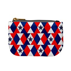 Patriotic Red White Blue 3d Stars Mini Coin Purses