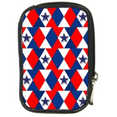 Patriotic Red White Blue 3d Stars Compact Camera Cases