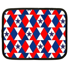 Patriotic Red White Blue 3d Stars Netbook Case (XL)
