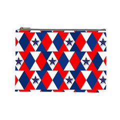 Patriotic Red White Blue 3d Stars Cosmetic Bag (Large)