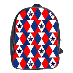 Patriotic Red White Blue 3d Stars School Bags(Large)