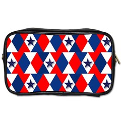 Patriotic Red White Blue 3d Stars Toiletries Bags