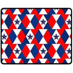 Patriotic Red White Blue 3d Stars Fleece Blanket (Medium)