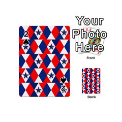 Patriotic Red White Blue 3d Stars Playing Cards 54 (Mini)