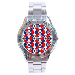 Patriotic Red White Blue 3d Stars Stainless Steel Analogue Watch