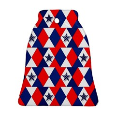 Patriotic Red White Blue 3d Stars Ornament (Bell)