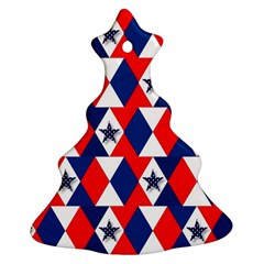 Patriotic Red White Blue 3d Stars Christmas Tree Ornament (Two Sides)