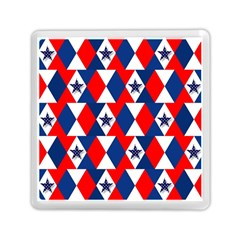 Patriotic Red White Blue 3d Stars Memory Card Reader (square)