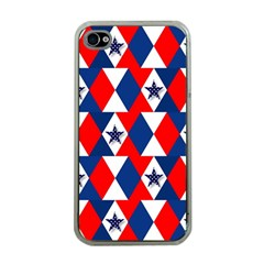Patriotic Red White Blue 3d Stars Apple Iphone 4 Case (clear)