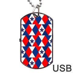 Patriotic Red White Blue 3d Stars Dog Tag USB Flash (One Side)