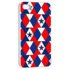 Patriotic Red White Blue 3d Stars Apple Iphone 4/4s Seamless Case (white)