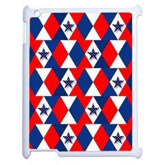 Patriotic Red White Blue 3d Stars Apple iPad 2 Case (White)
