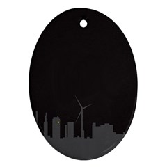 Windmild City Building Grey Oval Ornament (Two Sides)
