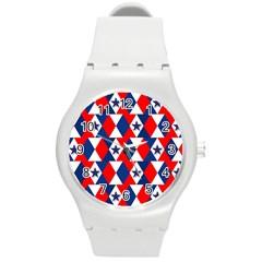 Patriotic Red White Blue 3d Stars Round Plastic Sport Watch (M)