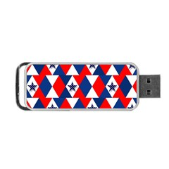 Patriotic Red White Blue 3d Stars Portable USB Flash (One Side)