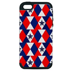 Patriotic Red White Blue 3d Stars Apple iPhone 5 Hardshell Case (PC+Silicone)