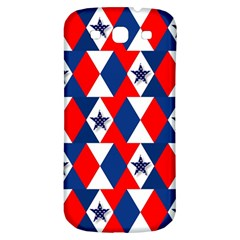Patriotic Red White Blue 3d Stars Samsung Galaxy S3 S III Classic Hardshell Back Case