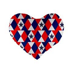 Patriotic Red White Blue 3d Stars Standard 16  Premium Heart Shape Cushions