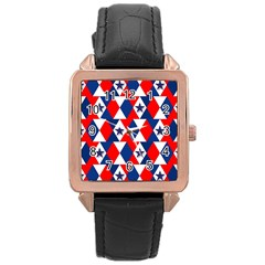 Patriotic Red White Blue 3d Stars Rose Gold Leather Watch