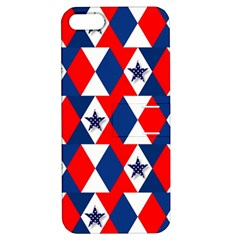 Patriotic Red White Blue 3d Stars Apple iPhone 5 Hardshell Case with Stand