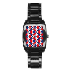 Patriotic Red White Blue 3d Stars Stainless Steel Barrel Watch
