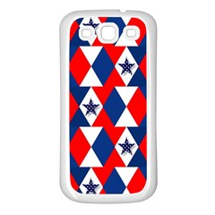 Patriotic Red White Blue 3d Stars Samsung Galaxy S3 Back Case (White)
