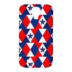 Patriotic Red White Blue 3d Stars Samsung Galaxy S4 Classic Hardshell Case (PC+Silicone)