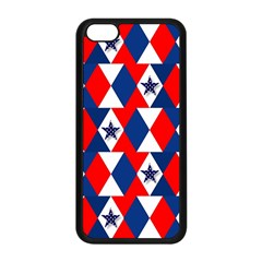 Patriotic Red White Blue 3d Stars Apple iPhone 5C Seamless Case (Black)