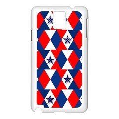 Patriotic Red White Blue 3d Stars Samsung Galaxy Note 3 N9005 Case (White)