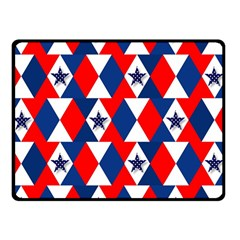 Patriotic Red White Blue 3d Stars Double Sided Fleece Blanket (Small)