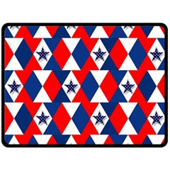 Patriotic Red White Blue 3d Stars Double Sided Fleece Blanket (Large)