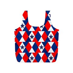 Patriotic Red White Blue 3d Stars Full Print Recycle Bags (S)