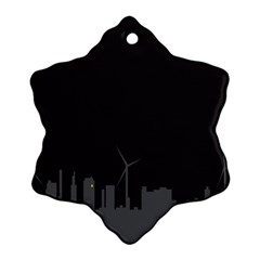 Windmild City Building Grey Snowflake Ornament (Two Sides)