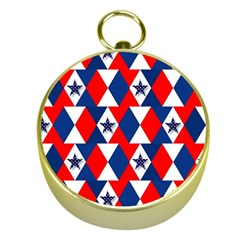 Patriotic Red White Blue 3d Stars Gold Compasses
