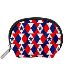 Patriotic Red White Blue 3d Stars Accessory Pouches (small)