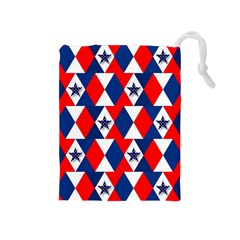 Patriotic Red White Blue 3d Stars Drawstring Pouches (Medium)