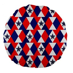 Patriotic Red White Blue 3d Stars Large 18  Premium Flano Round Cushions