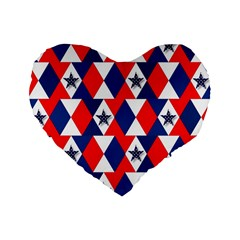 Patriotic Red White Blue 3d Stars Standard 16  Premium Flano Heart Shape Cushions