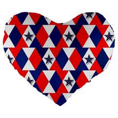 Patriotic Red White Blue 3d Stars Large 19  Premium Flano Heart Shape Cushions