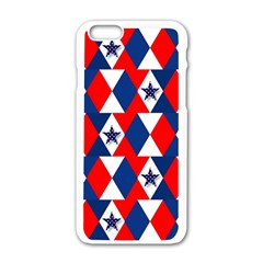 Patriotic Red White Blue 3d Stars Apple iPhone 6/6S White Enamel Case