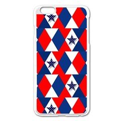 Patriotic Red White Blue 3d Stars Apple Iphone 6 Plus/6s Plus Enamel White Case