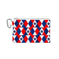 Patriotic Red White Blue 3d Stars Canvas Cosmetic Bag (S)