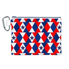 Patriotic Red White Blue 3d Stars Canvas Cosmetic Bag (L)