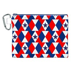 Patriotic Red White Blue 3d Stars Canvas Cosmetic Bag (XXL)