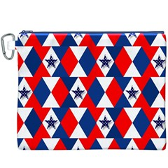 Patriotic Red White Blue 3d Stars Canvas Cosmetic Bag (XXXL)
