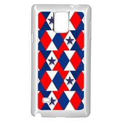 Patriotic Red White Blue 3d Stars Samsung Galaxy Note 4 Case (White)
