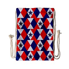 Patriotic Red White Blue 3d Stars Drawstring Bag (Small)