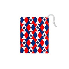 Patriotic Red White Blue 3d Stars Drawstring Pouches (XS)