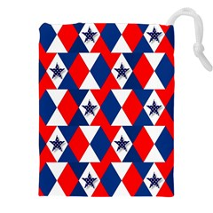 Patriotic Red White Blue 3d Stars Drawstring Pouches (XXL)