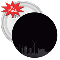 Windmild City Building Grey 3  Buttons (10 pack)
